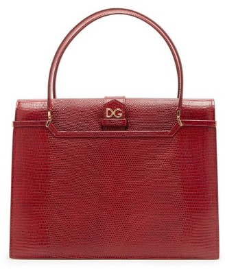 Dolce & Gabbana Ingrid Medium Lizard-effect Leather Bag - Womens - Burgundy