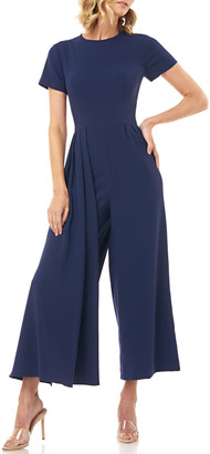 Kay Unger New York Lucie Short-Sleeve Cropped Wide-Leg Jumpsuit