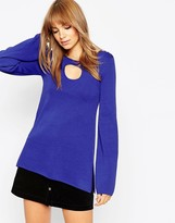 Asos Tunic in Structured Knit with Cut Out Detail and Bell Sleeves