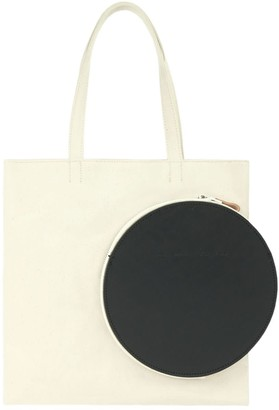 Make What You Will White Square Tote With Black Leather Pocket