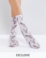 Monki Bunny Rabbit Print Ankle Socks