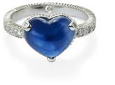 Elizabeth Buenaventura - Hammered Harmony Heart Diamond And Sapphire Ring