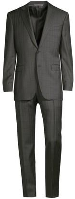 Canali Modern-Fit Windowpane Check Wool Suit