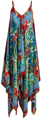 New York & Co. Mixed-Print Handkerchief-Hem Swing Dress