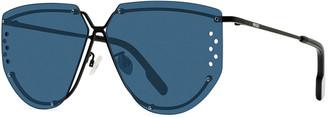 Kenzo Men's Perforated-Lens Metal Aviator Sunglasses