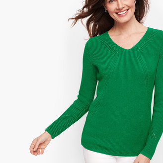 Talbots V-Neck Shaker Stitch Sweater