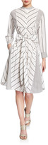 Diane von Furstenberg Jaylah Striped Tie-Front Shirtdress