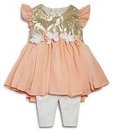Miniclasix Girls' Sequined Crepe Tunic & Capri Leggings Set - Baby
