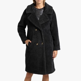 Oakwood Long Thick Wool Teddy Faux Fur Coat with Double-Breasted Buttons