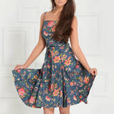 LAGOM Chicago Fit And Flare Dress In Royal Garden Print