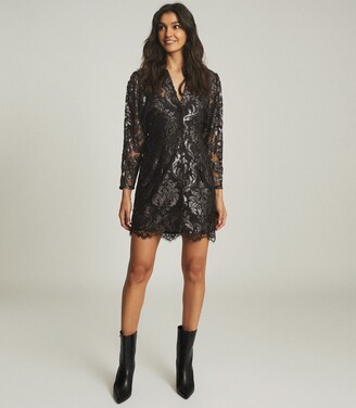 Reiss Kaya - Metallic Floral Lace Dress in Silver