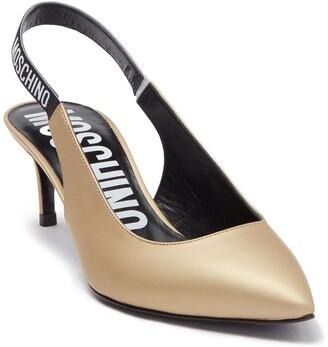 Moschino Slingback Leather Kitten Heel Pump