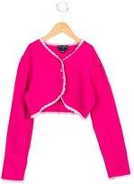 Oscar de la Renta Girls' Crochet-Trimmed Long Sleeve Bolero