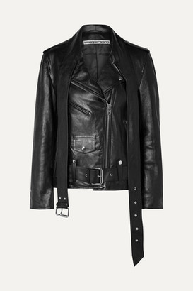 Alexander Wang Martingale Belted Leather Jacket - Black