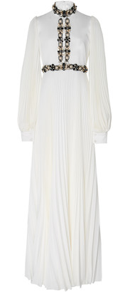 Andrew Gn Embellished Plisse-Silk Gown