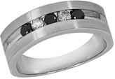 Effy Jewelry Effy Men's 14K White Gold Black and White Diamond Ring, 0.49 TCW