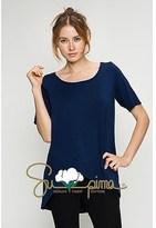 B-Sharp Collection Supima Cotton Tunic Casual Short Sleeve Navy Tops.