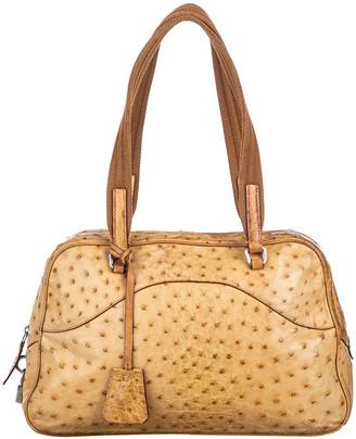 Prada Brown Ostrich Leather Satchel
