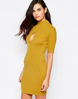AX Paris High Neck Bodycon Dress with Keyhole Detail