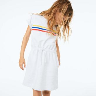 Lacoste Girls Tricolor Stripe Drop Shoulder Dress