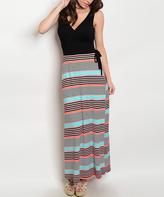 Black & Aqua Stripe Maxi Dress