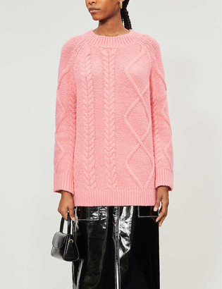 Topshop Oversized cable knit wool-blend jumper