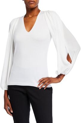 Kobi Halperin Malika V-Neck Split-Sleeve Sweater