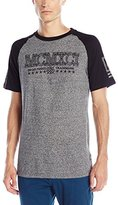 Southpole Men's Short Sleeve Marled Raglan T-Shirt with Applique