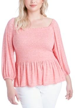 Jessica Simpson Trendy Plus Size Sherrie Smocked Peplum Top