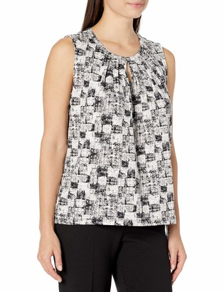 Kasper Women's Abstract Patch Printed Sleeveless Pleated Neckline Tank
