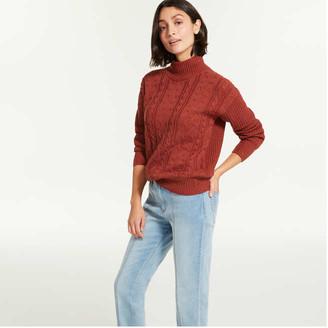 Joe Fresh Women's Turtleneck Sweater, Dark Red Mix (Size XS)