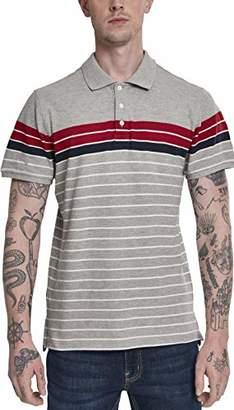 Urban Classic Men's Classic Stripe Polo Shirt, (Grey/Firered/Navy/White 01705)
