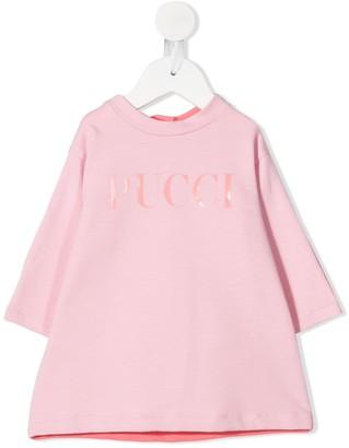 Emilio Pucci Junior Jersey Logo A-Line Dress