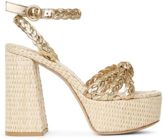 Gianvito Rossi Kea gold and raffia platform sandals