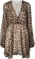 Caroline Constas plunge leopard print mini dress