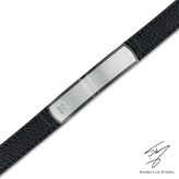 Zales Men's Shaquille O'Neal Diamond Accent ID Leather Bracelet in Two-Tone Stainless Steel - 8.5""
