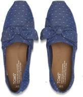 Toms Imperial Blue Chambray Dot Women's Bow Classics