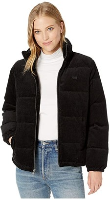 Levi's Corduroy Stand Collar Puffer (Black) Women's Clothing