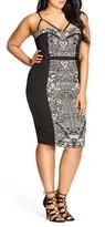 City Chic Plus Size Women's Seductive Strappy Block Print Sheath Dress