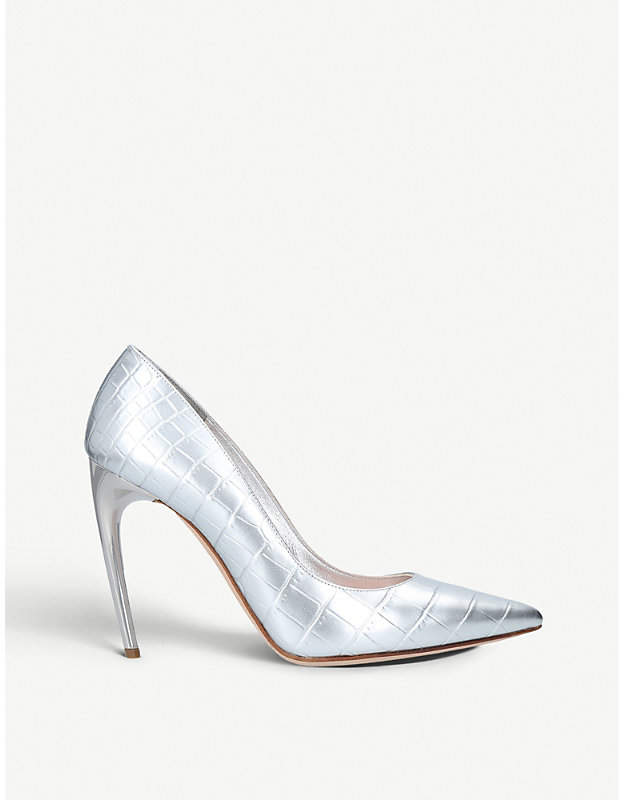 Alexander McQueen Pump 105 metallic-leather courts