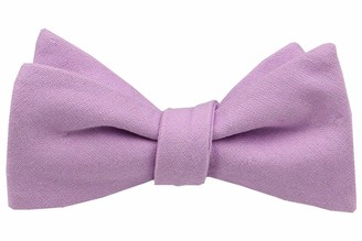 Gollate Mens Solid Linen Self Tie Bow Ties - Classic Butterfly Bowties - Wedding Formal Bowtie - purple - Large