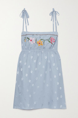 Morgan Lane Hanna Lace-trimmed Embroidered Silk-blend Jacquard Chemise - Light blue