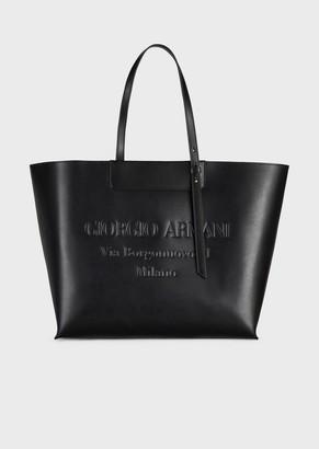 Giorgio Armani Large Leather Shopper Bag With Tone-On-Tone Embossed Logo