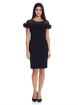 Adrianna Papell Womens Black Matte Jersey Rosette Sheath Dress - Black