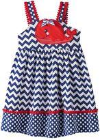 Nannette Toddler Girl Whale Applique Chevron Dress