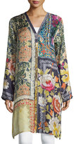 Johnny Was Shiro Printed Button-Front Silk Tunic, Multi, Petite