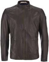 Boss Orange Jermon Leather Biker Jacket Brown