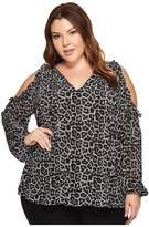 MICHAEL Michael Kors Plus Size Leopard Cold Shoulder Top Women's Clothing