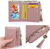 Zg gift Womens Mini Soft Leather Bifold Wallet With ID Window Card Organizer Coin Purse
