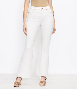 LOFT The Curvy High Waist Sandal Flare Jean in Natural White